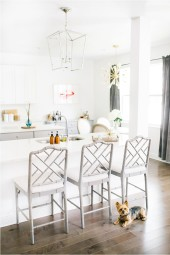 All White Kitchen, Ballard Designs Dayna Barstools, Visual Comforts Darlana Pendant, J Photography by Jessi Caparella, Breathe J Home