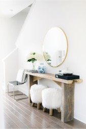 Entryway, Pottery Barn mongolian fur stools, round gold mirror, blue and white oriental vase, tom ford book, breathejphotography, j photography by jessi caparella, breathejhome, breathe j home